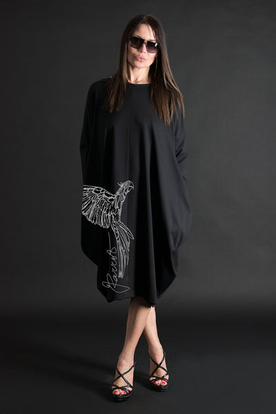 Autumn Black Print Parrot Plus size Long Cotton Dress