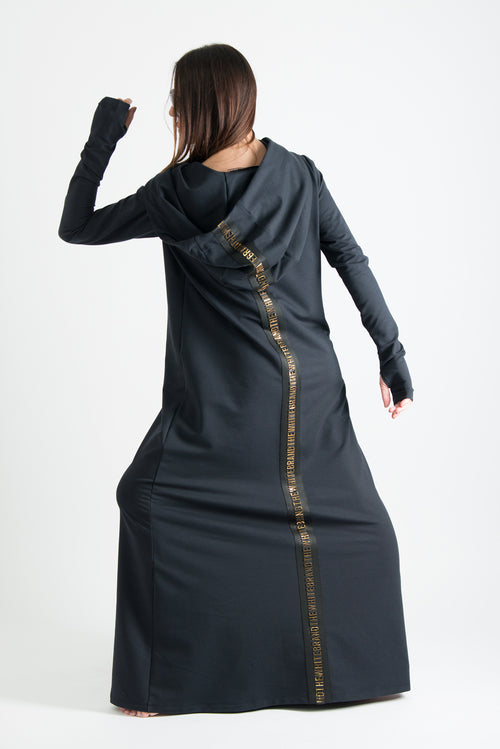 Black Long Hooded Trendy Dress - EUG FASHION