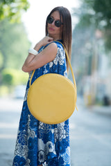Yellow Bag, Tote Circle Bag, Genuine Shoulder Leather Tote, Leather Diaper Bag