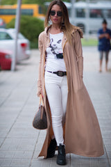 Long Beige hooded vest - EUG FASHION