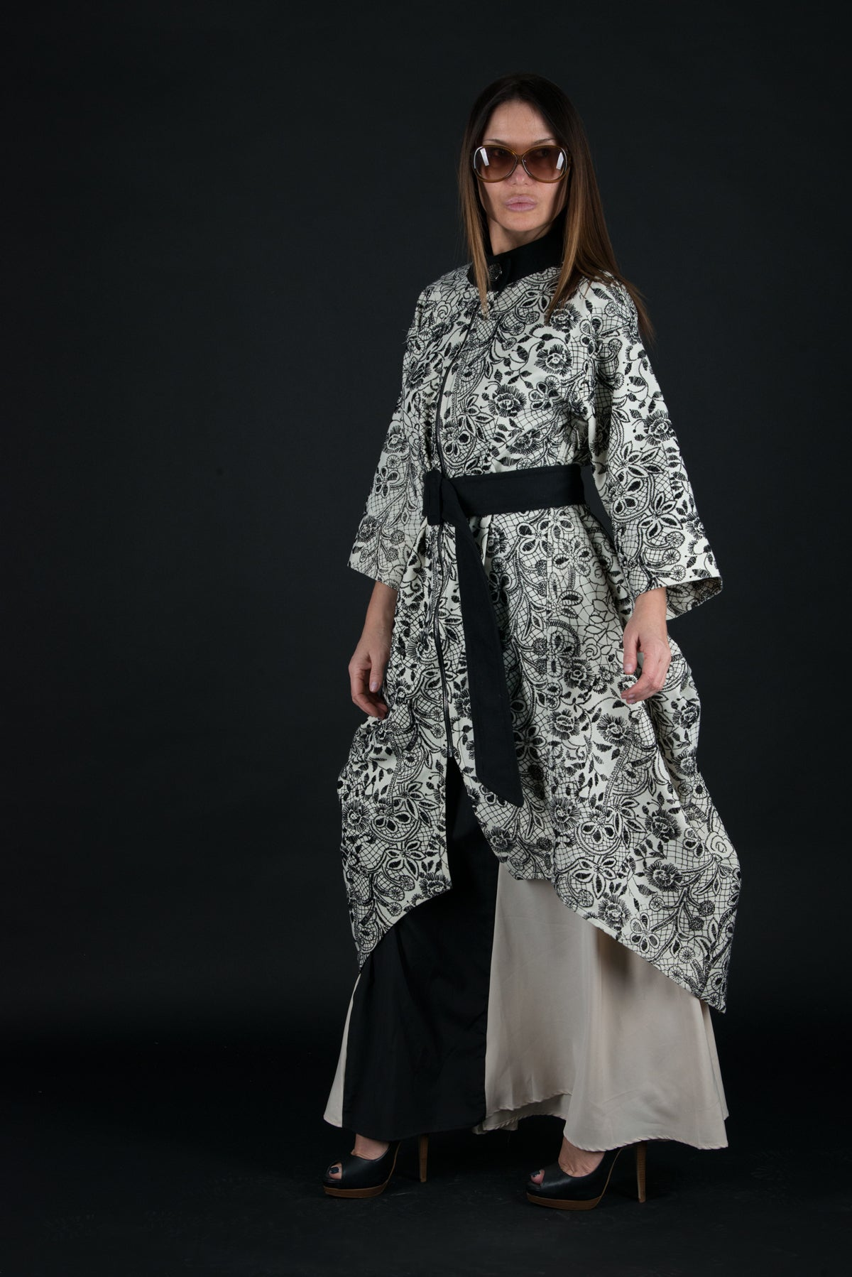 Spring Black and White Women Cape, Coats