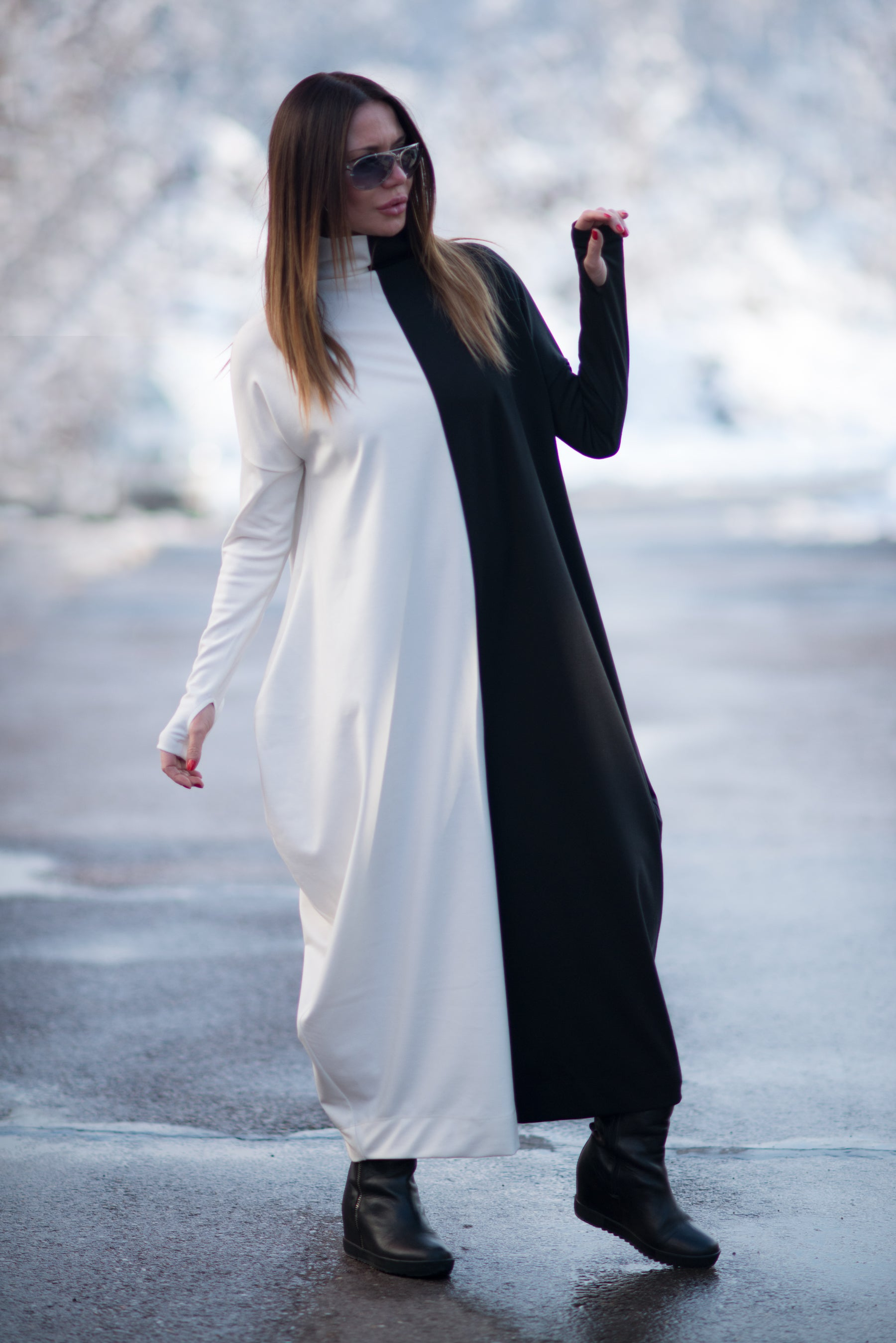 Black and white Turtleneck Winter Jumpsuit, Jumpsuits & Rompers