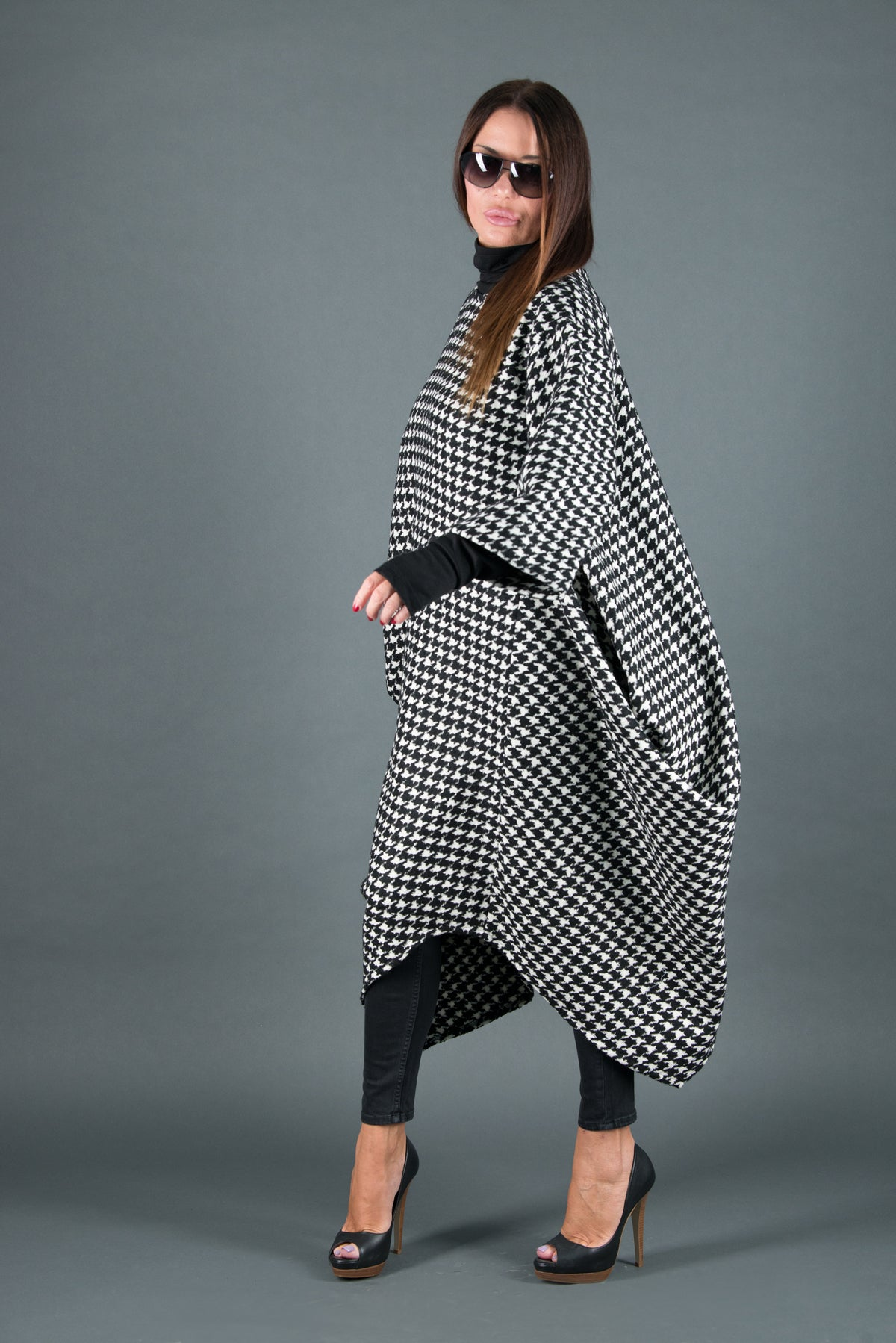 Autumn Winter Shepherd's Plaid Wool Dress, Dresses & Maxi Dresses