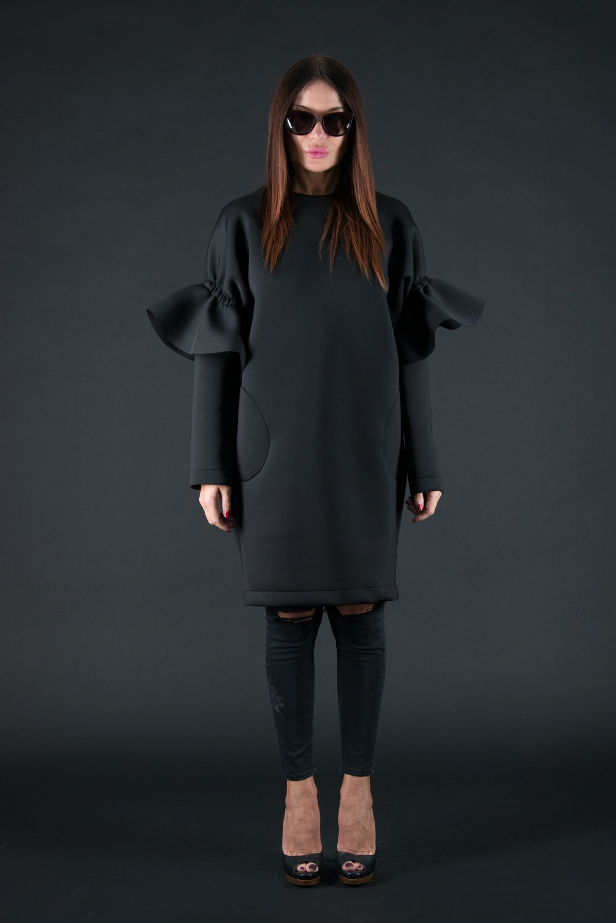 Black Winter Neoprene Dress with long sleeves, Dresses & Maxi Dresses
