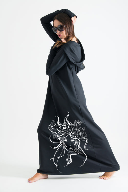 Black Hooded Octopus Printed Dress - EUG FASHION