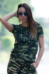 Free Hugs printed Tshirt, Loose Camouflage Woman cotton printed tshirt
