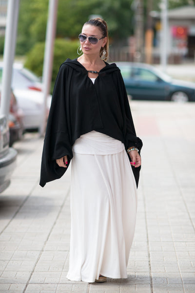 Black Cotton Summer Vest, Black Hooded Bolero, Sleeved Hooded