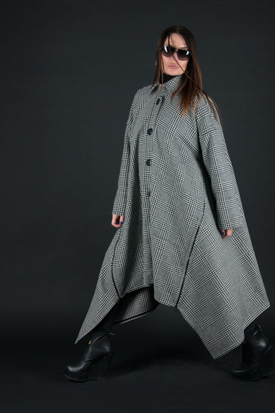 Plaid Cashmere Women Coat, Unique Asymmetrical Coat with Loose Line