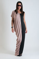 Oversize Jersey Black Beige Long Dress - EUG FASHION