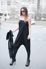 Black Women Harem Jumpsuit, Rompers, Of shoulders Plus Size Jumpsuit