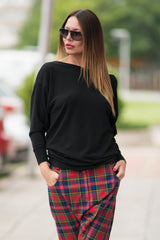 Black Blouse Bare Back, Oversize Black Loose Casual Top, Tunic, Black Top