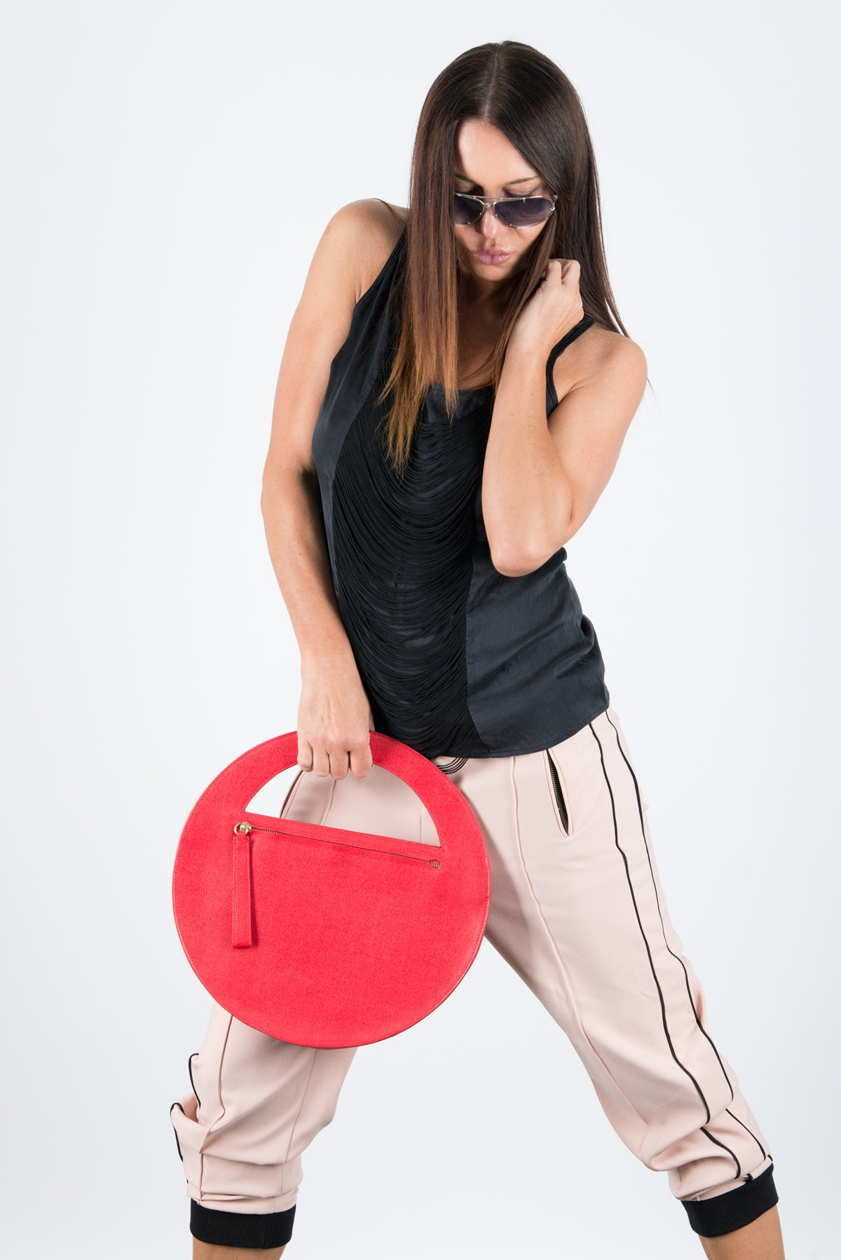 Red Genuine Leather Clutch Hand Bag, Evening Leather Bag, Bags & Accessories