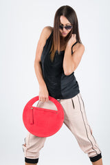 Red Genuine Leather Clutch Hand Bag, Evening Leather Bag - EUG FASHION