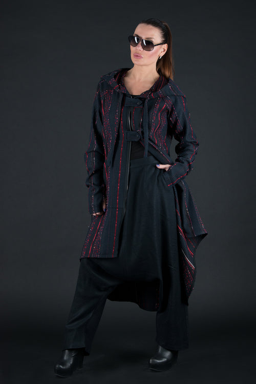 Autumn Black Wool Hooded Maxi Vest, Coats