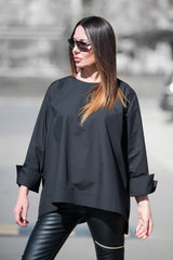 Black Cotton Loose Summer Top