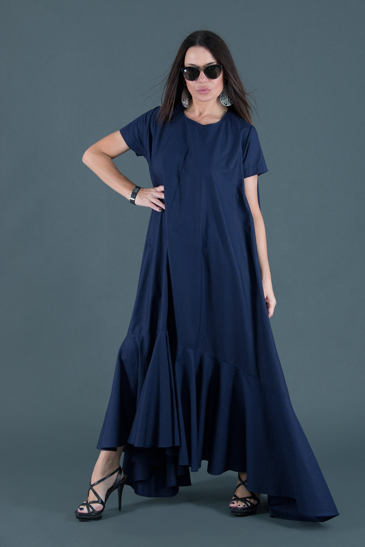 Dark Blue Cotton Dress, Dresses Spring & Summer