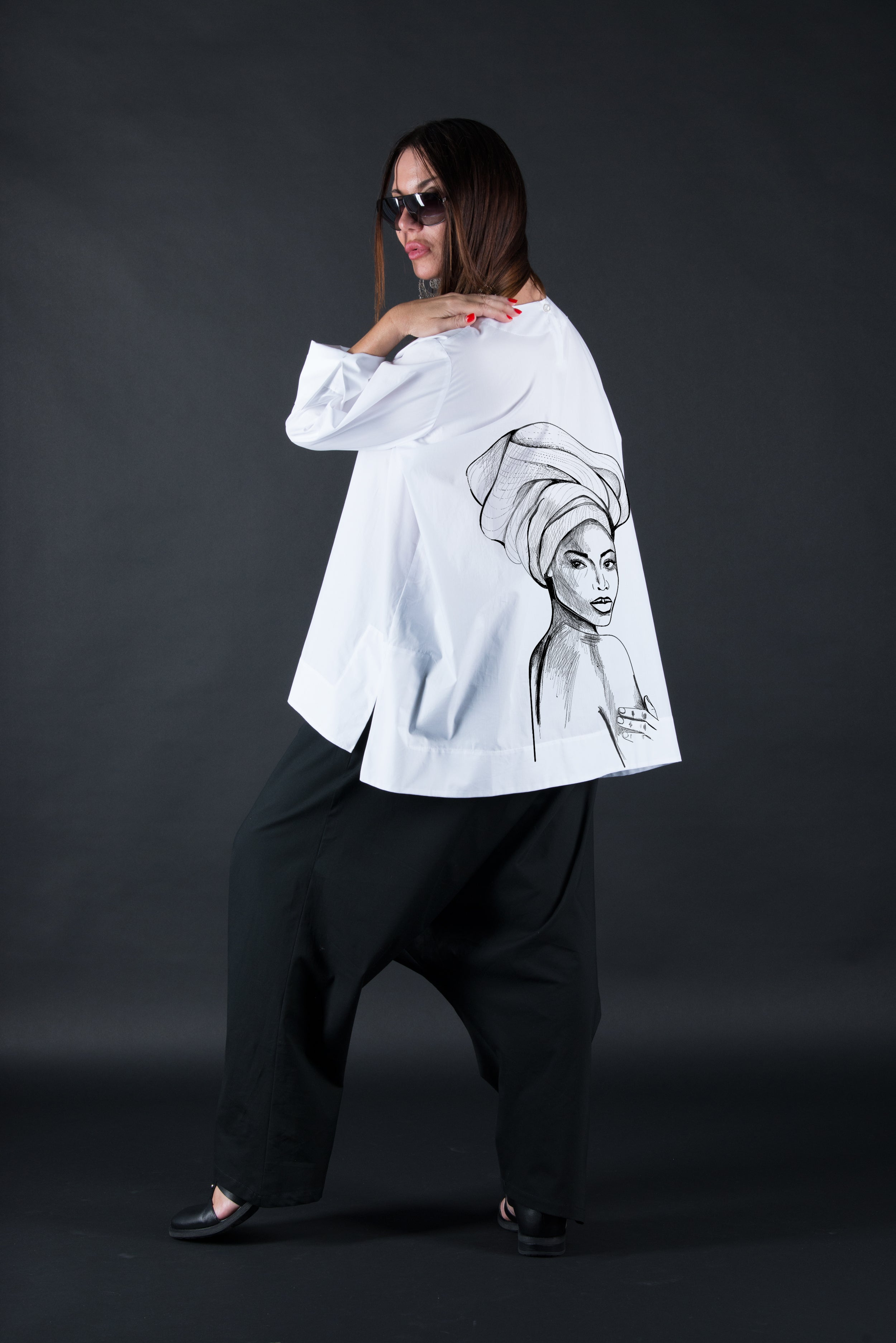 White Cotton Loose Shirt With African Woman Print, Tops & Tunics