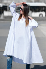 White Maxi Loose Summer Cotton Dress - EUG FASHION