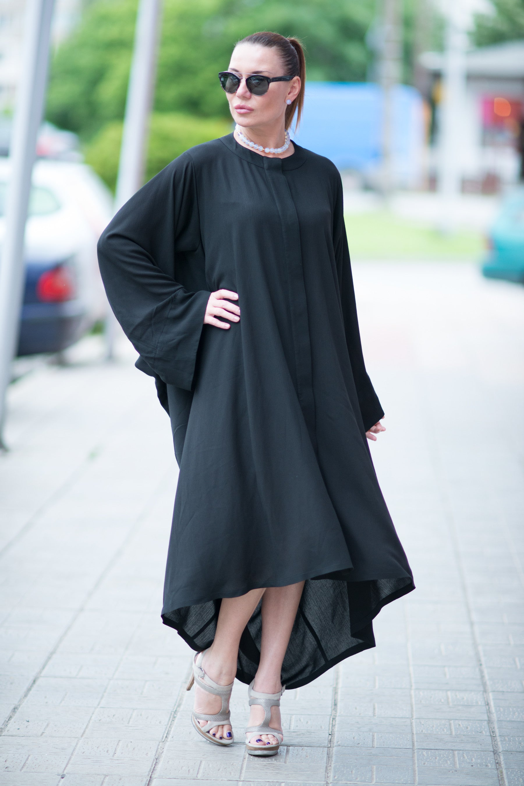 Black Cotton Abaya Loose Maxi Dress, Kaftans Clothing