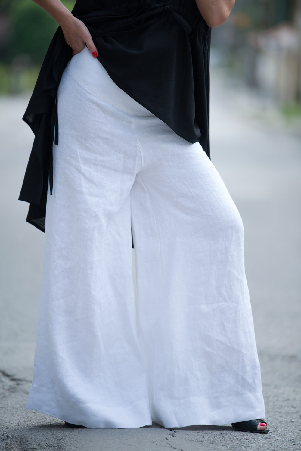 Linen White Loose Pants, Wide Legs Pants