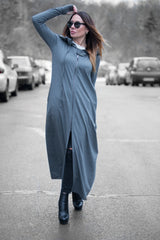 Grey hooded long sweatshirts, Grey Hooded Loose fit vest, Quilted Cotton Hoodie