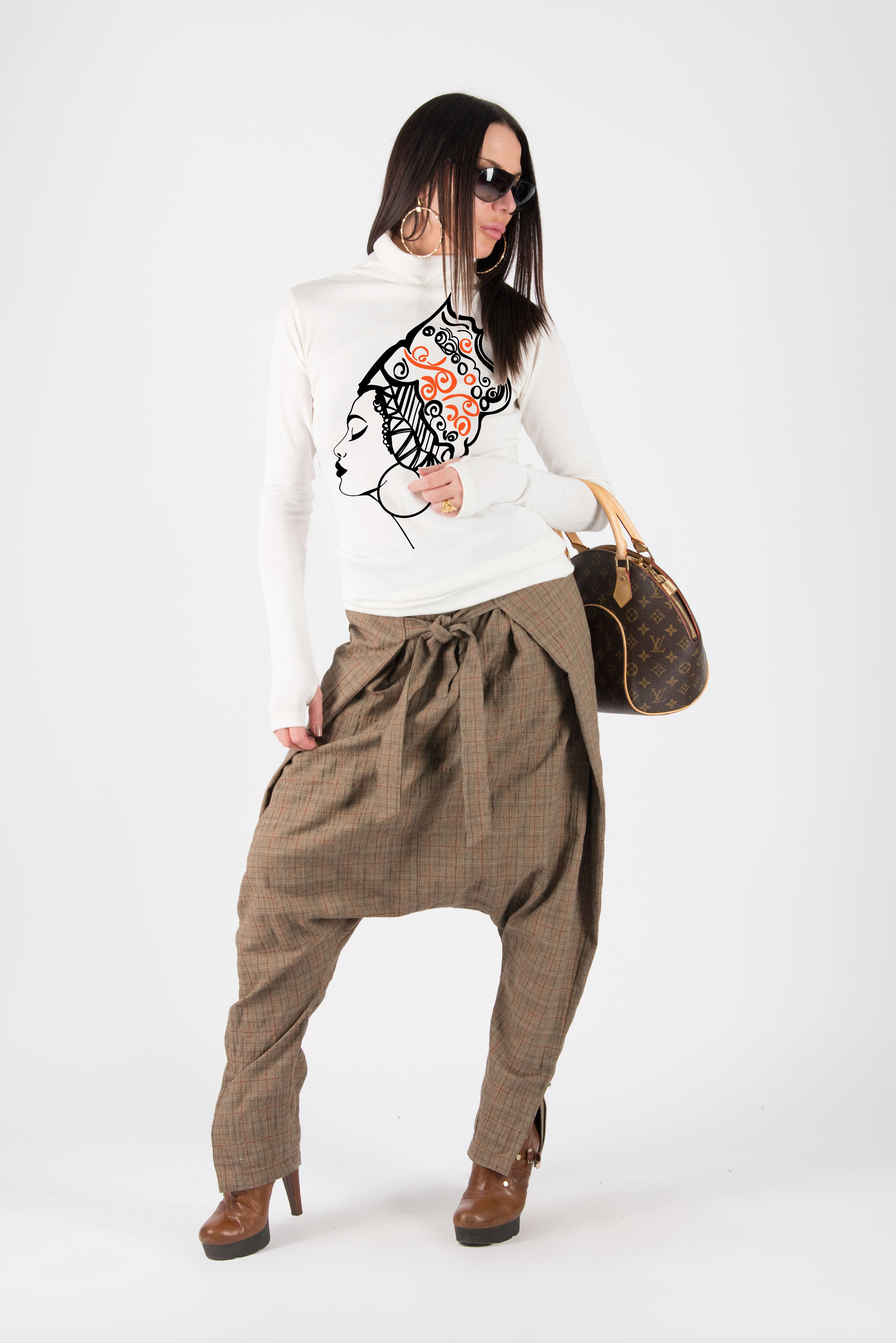 Brown Check Drop Crotch Pants, Harem Pants, Pants & Leggings