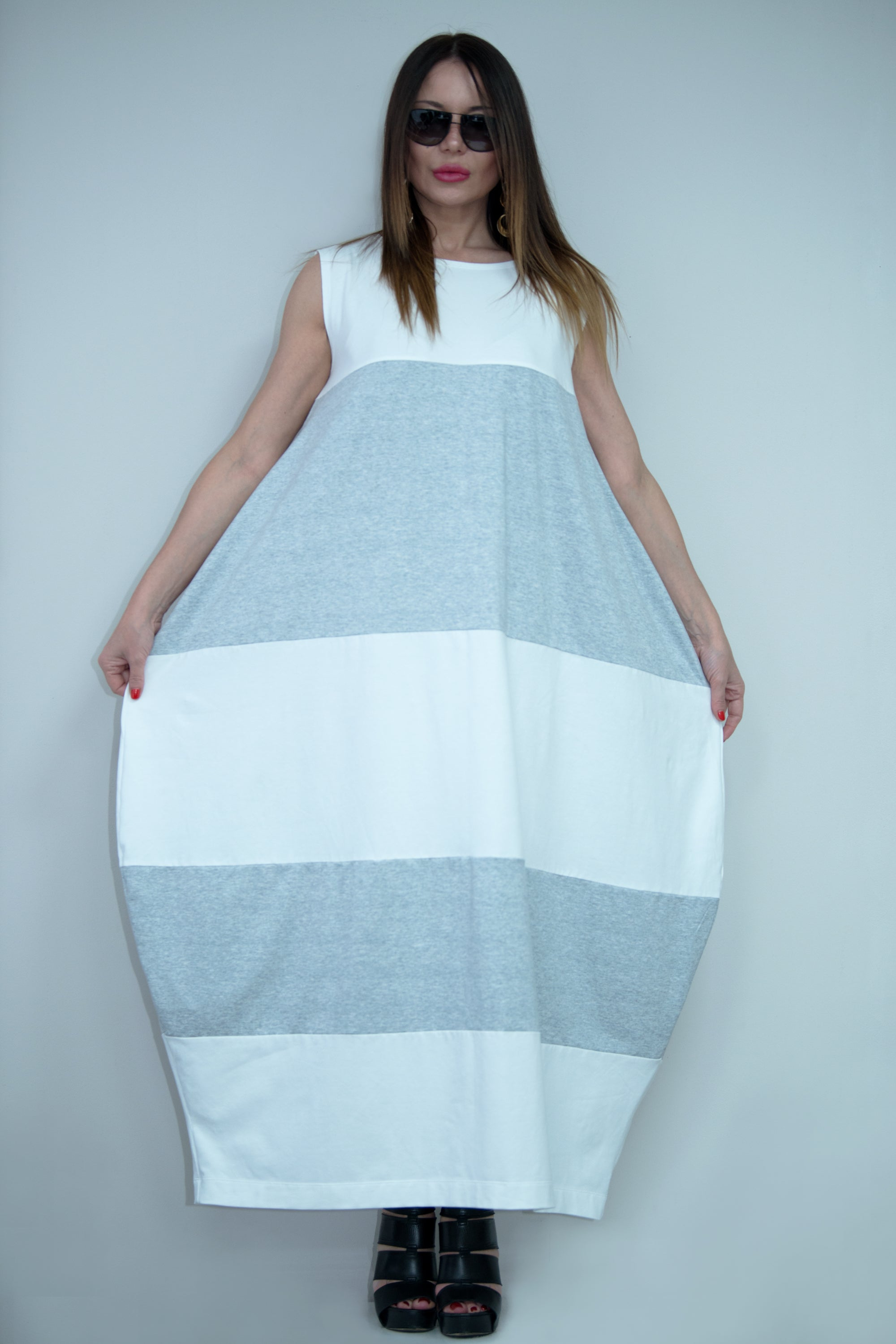 White and Light Grey Summer Dress