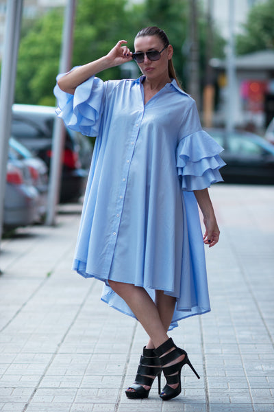 Azure blue maxi summer dress, Cotton party dress with flounces sleeves, Plus size dress