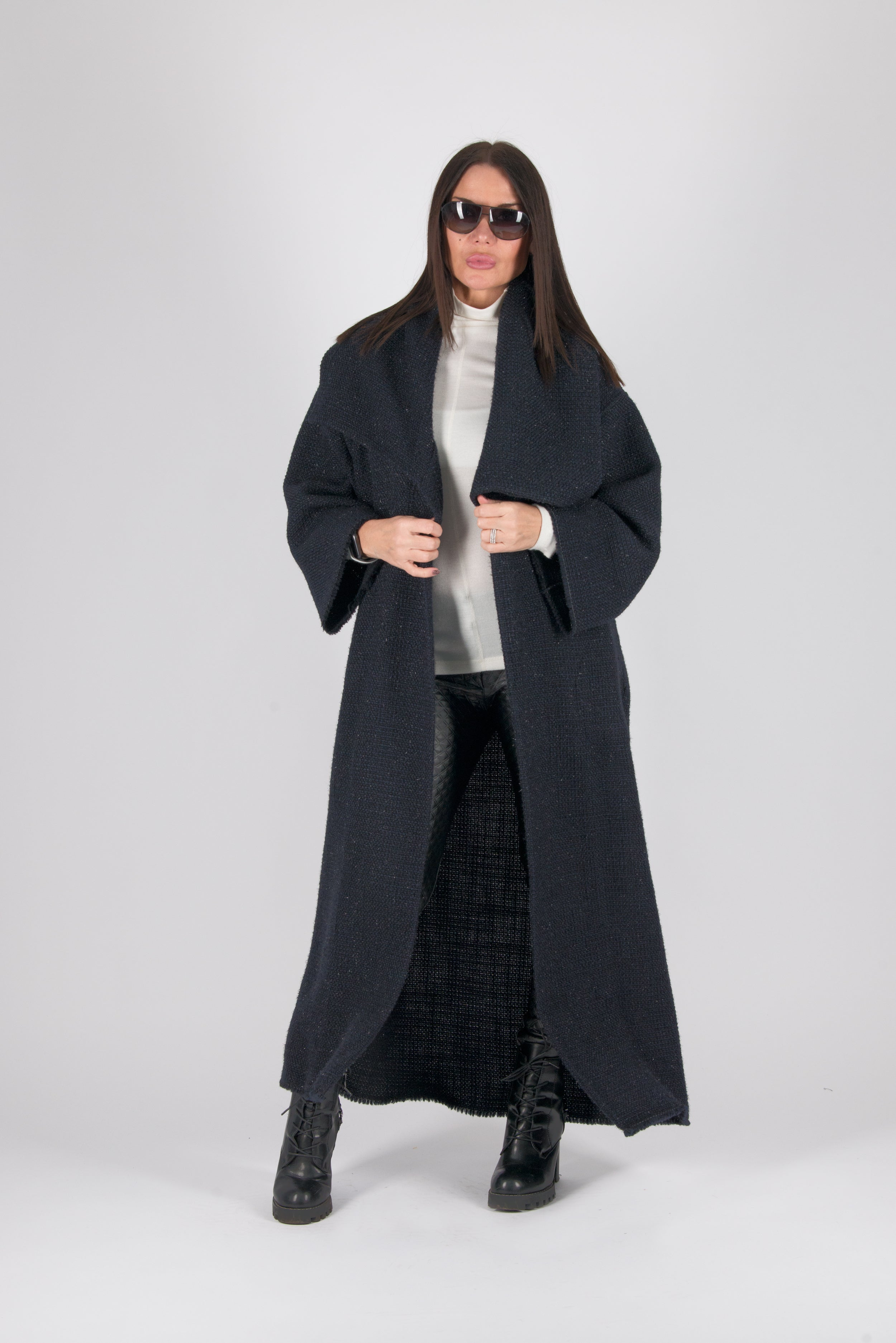 Wool Blue Winter Coat, Winter Cardigan, Coats