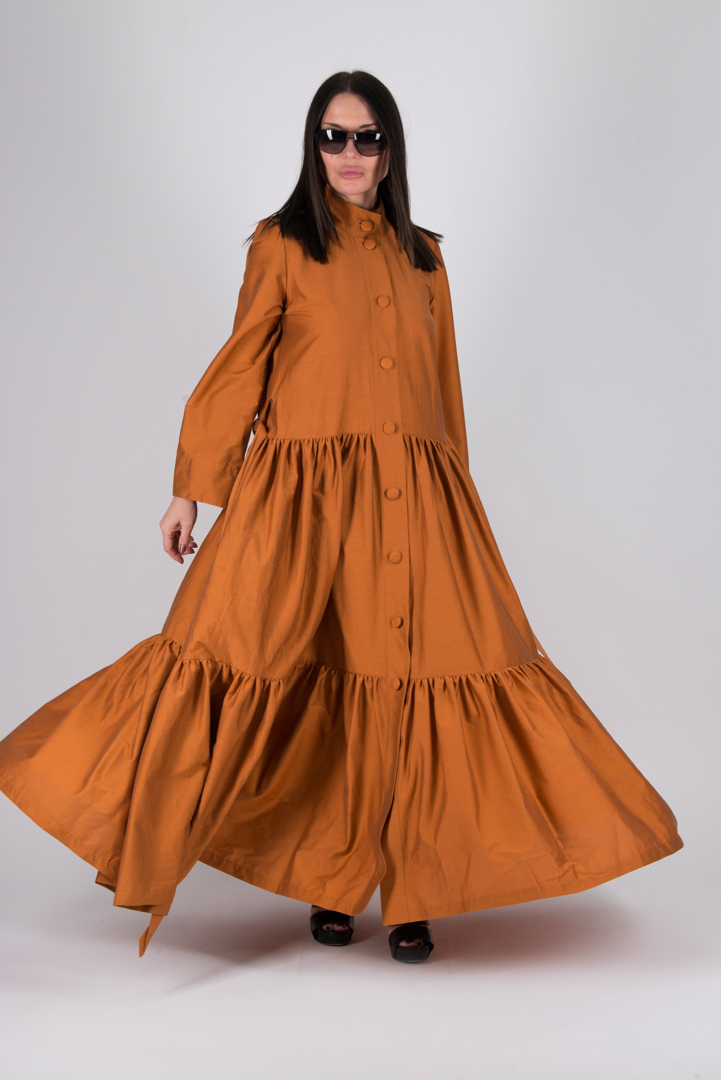 Brick Long flounces Kaftan, New Arrival