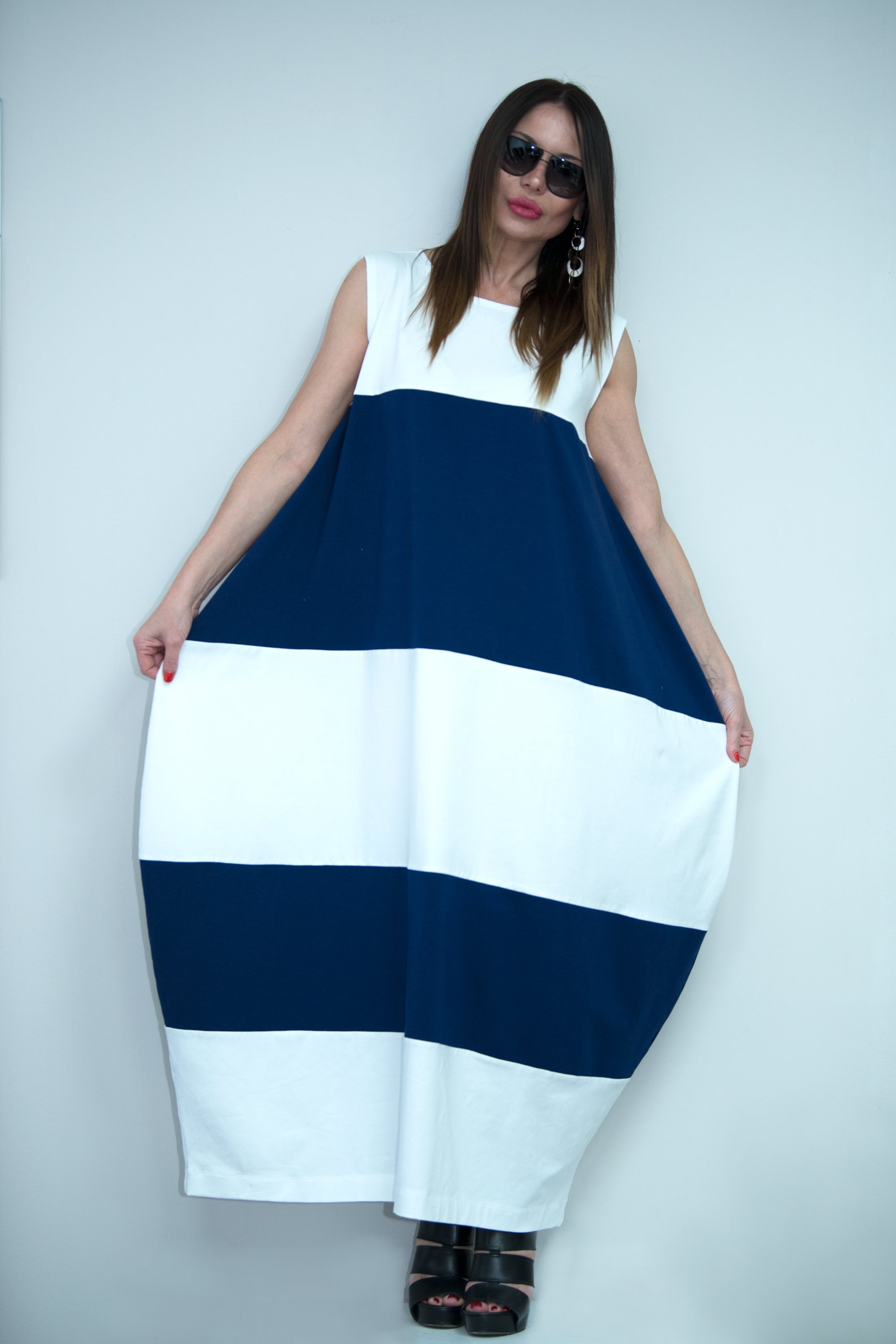 White and Navy Blue Summer Dress, Maxi Dress, Daywear Dress, Plus ...