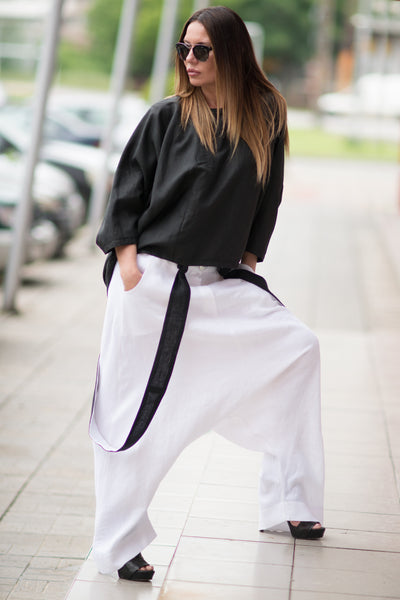 White Loose Pants, Cotton Harem Pants with suspenders, Drop Crotch Pant, Loose fit Trousers