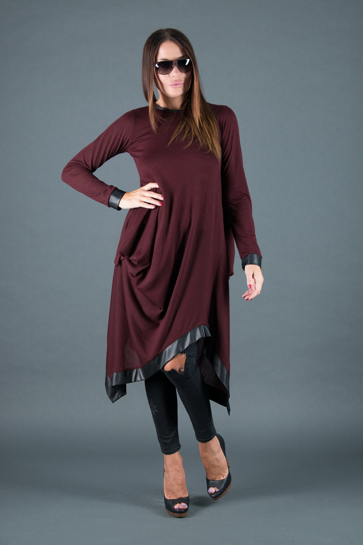 Winter Dress, Maxi Tunic, Asymmetrical autumn Dress with loose line