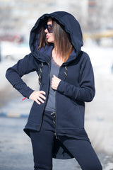 Navy Blue Hooded Zipper Sports set, Warm Pants, Dark Blue Sweatshirt with print