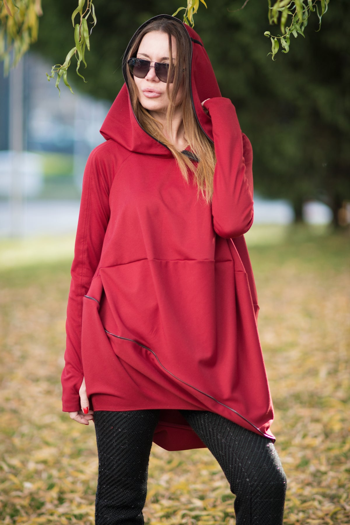 Black Plus size Hooded Tunic, Tops & Tunics