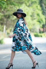 Summer maxi dress, Cotton party dress with flounces sleeves