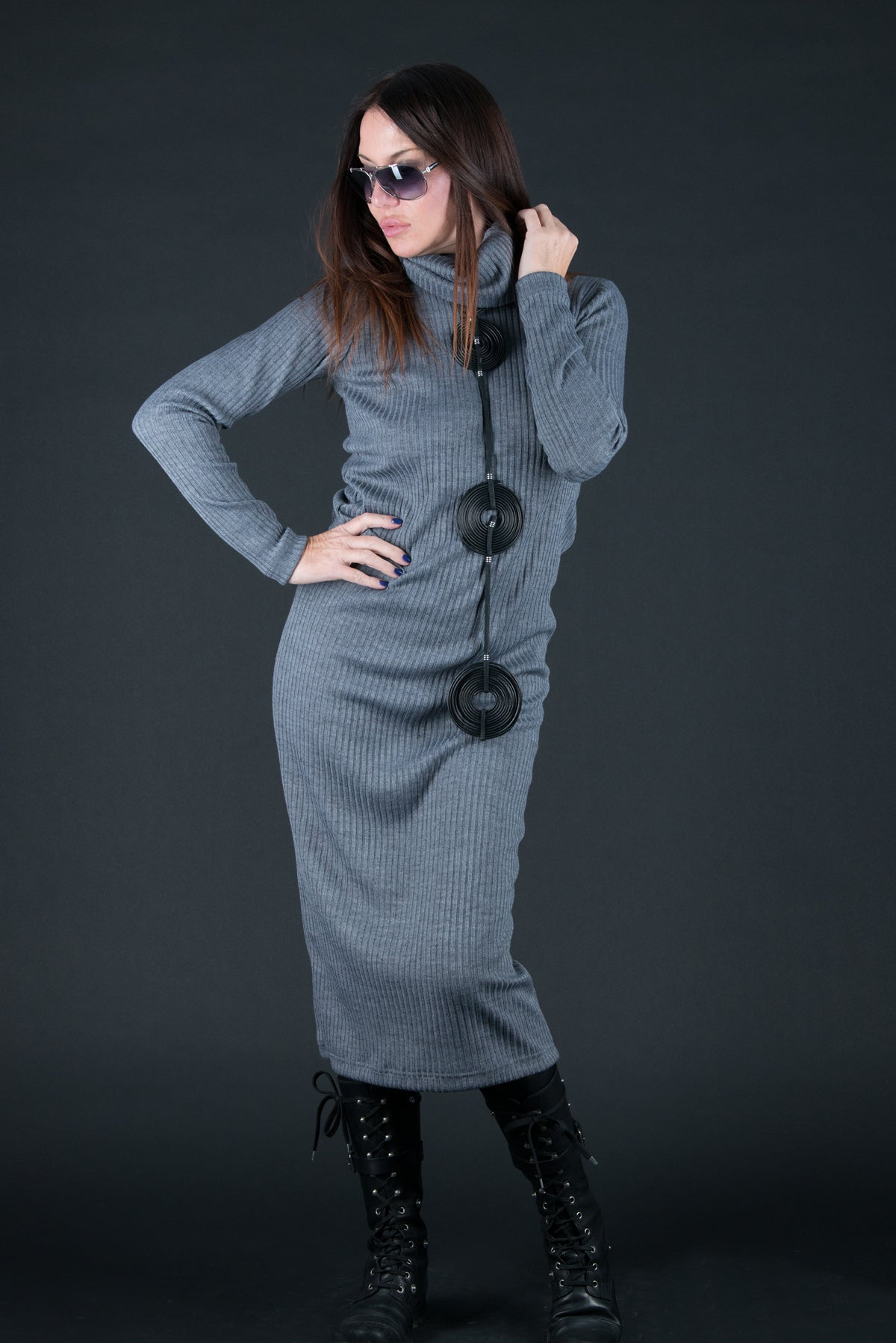 Winter Autumn Grey cotton knitting dress, Dresses & Maxi Dresses