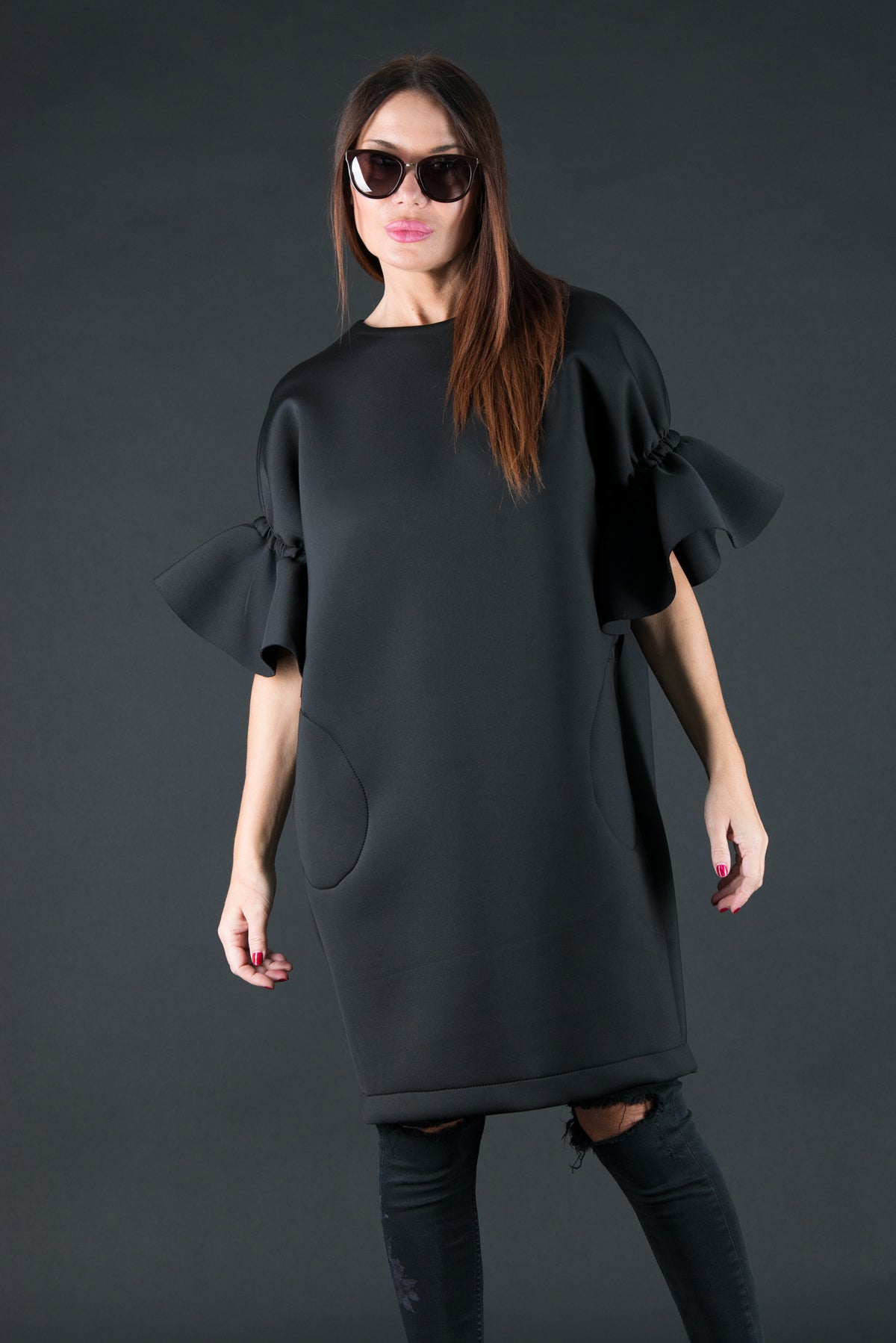 Black Winter Neoprene Dress for woman