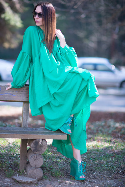 Green Summer Flounces Dress, Long Cotton Party Dress