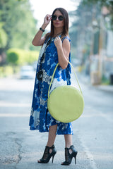 Lemon Green Bag, Tote Circle Bag, Genuine Shoulder Leather Tote