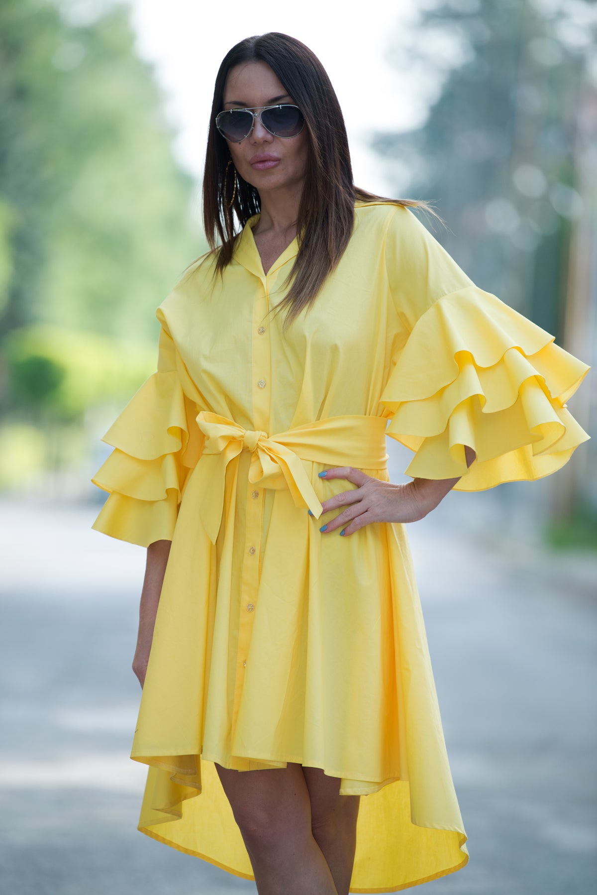 Yellow maxi summer dress, Cotton party dress with flounces sleeves, Plus  size dress