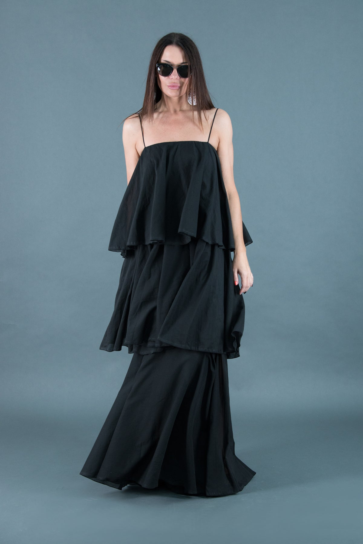 Black Cotton Flounces Maxi Dress, Dresses Spring & Summer