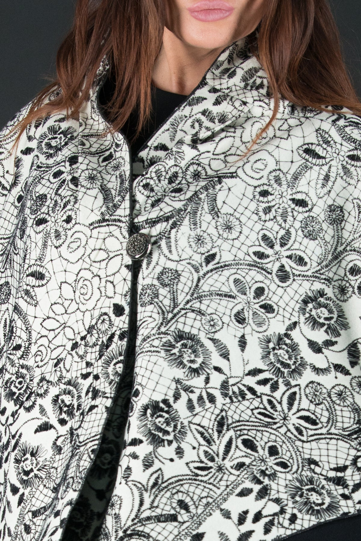 Autumn Black and White Winter Wool Cloak, Cardigans & Vests