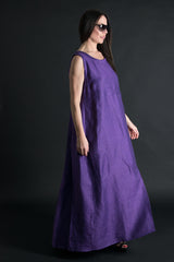 Purple Long Linen Maxi Dress, Linen Clothing