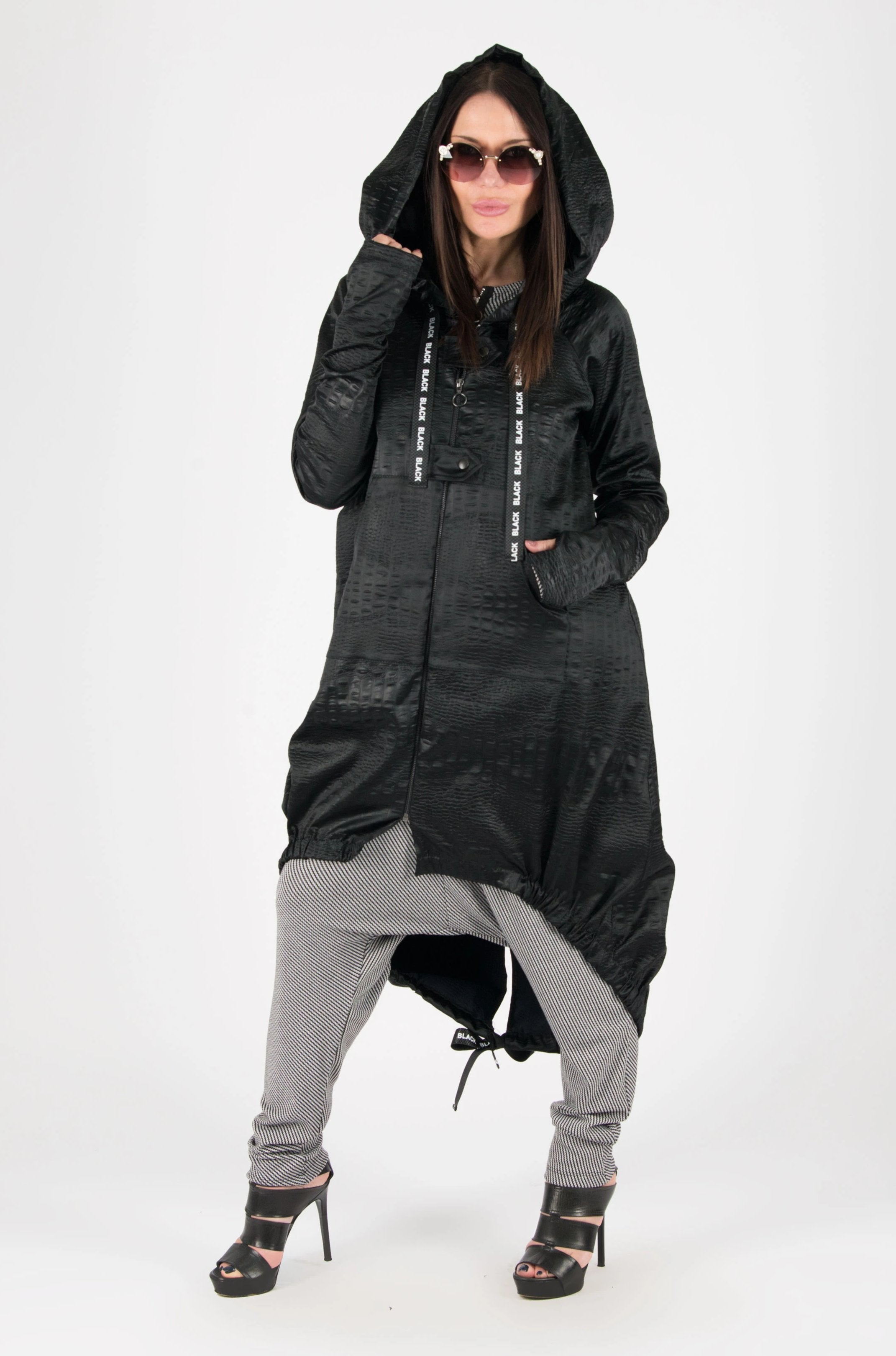 Black Long Zipper Hooded Vest, New Arrival
