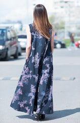 Cotton Maxi dress with Printed Flowers, Summer Dress