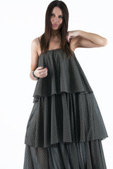 Black Flounces Maxi Dress - EUG FASHION