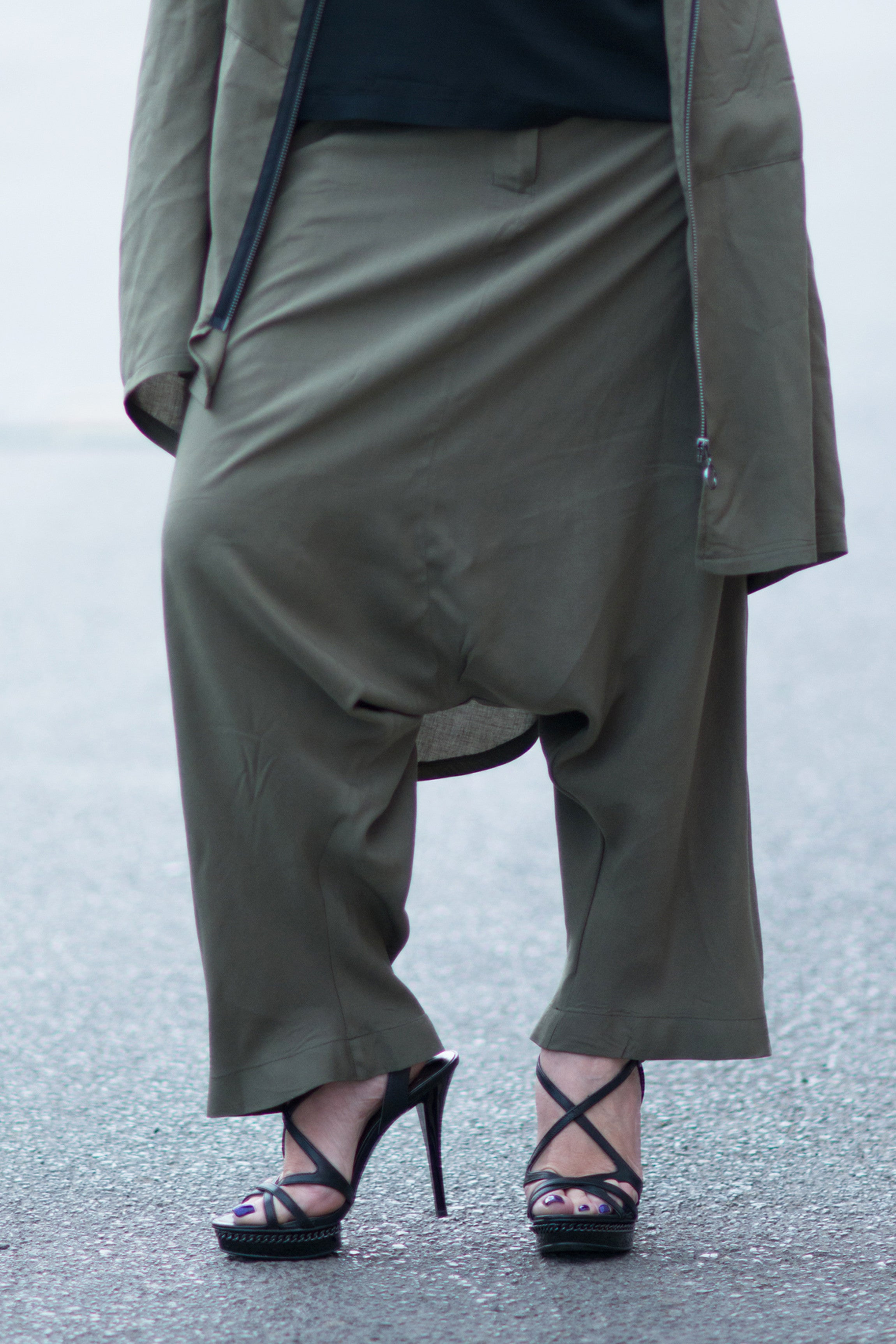 Military Green Loose pants, Drop Crotch Pant, Loose fit Trousers