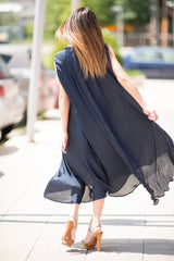 Navy Blue Summer Dress, Plus Size Evening Dress, Perfect Party dress, Summer Loose Dress