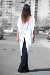 White Asymmetric Summer Sleeveless Tunic Top, Tops & Tunics